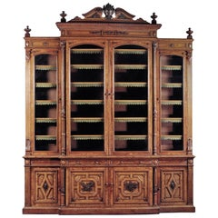 Large Carved Oak and Pollard Oak Breakfront Library Bookcase, circa 1870