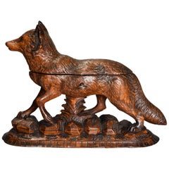 Late 19th Century Finely Carved Linden Wood Black Forest Fox Casket