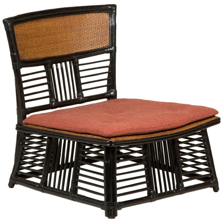 Low Japanese Side Chair with a Slatted Frame and Caned Back and Seat