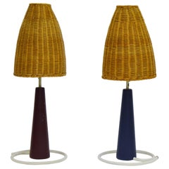 Midcentury Pair of Scandinavian Modern Bergbom Cone Shaped Table Lamps