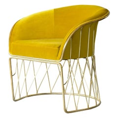 Equipal Brass and Yellow Velvet Art Piece Arm Chair by ATRA