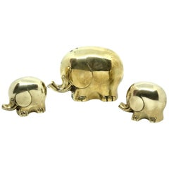 Elephant Sculptures 1970s Mid-Century Modern Brass Austria Germany Vintage