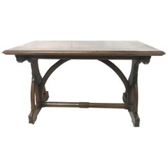 AWN Pugin Attributed Gillows Lancaster. A Gothic Revival Walnut Library Table.