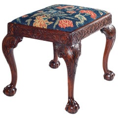 18th Century Walnut and Embroidered Stool