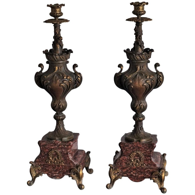 19th Century Pair of Tall Classical Bronze Urn Candleholders on Red Marble Base For Sale