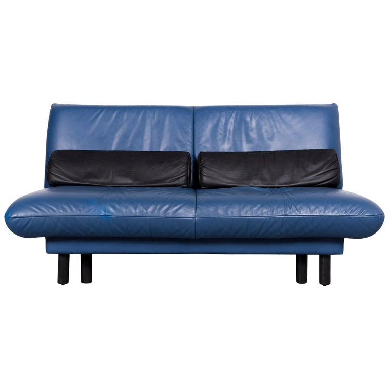 Brühl & Sippold Quint Designer Sofa Leather Blue Two-Seat Couch Function