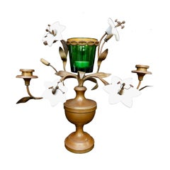 19th Century French Bronze Urn Shaped Candelabra with Opaline Glass Flowers