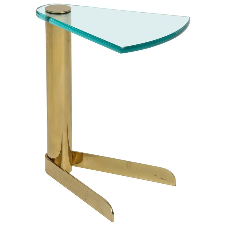 Pace Brass, Glass Side Table
