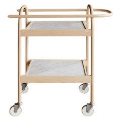 U3 Serving Trolley or Bar Cart, Solid Wood, Carrara Marble