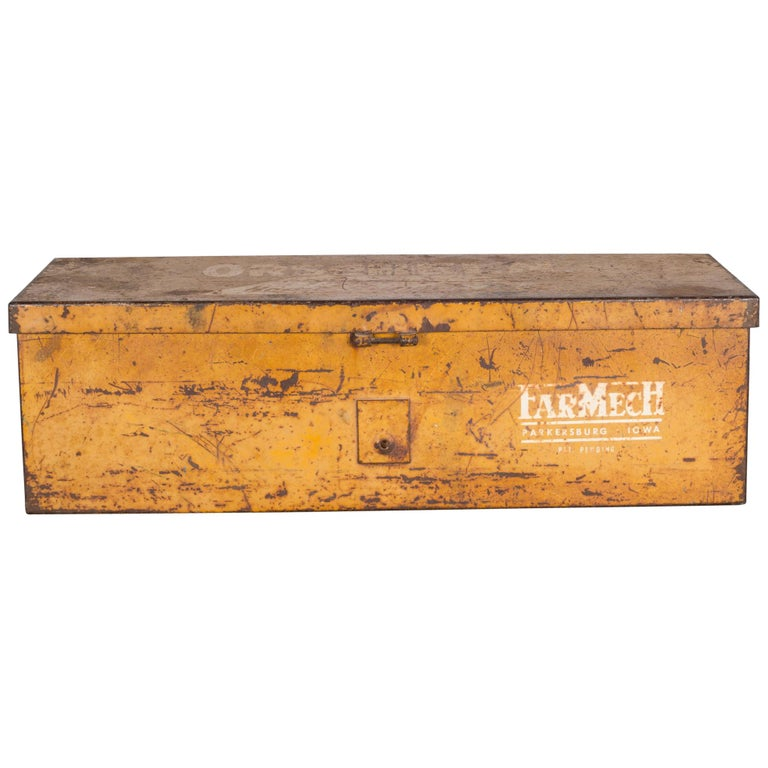 Distressed Steel Tractor Storage Tool Box, circa 1940s