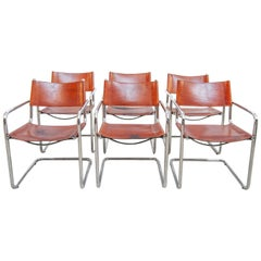 Set of Six Marcel Breuer MG5 Cognac Leather Chairs