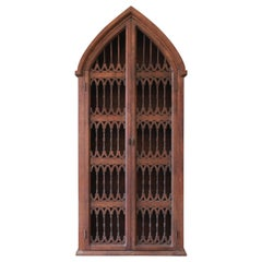 Vintage Spanish Gothic Cathedral Style Rustic Pine Bookcase or Cabinet