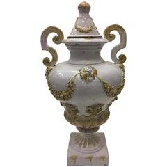 Impressive Italian Ceramic Urn with Lid