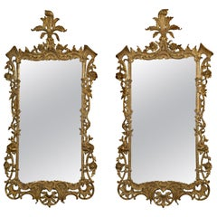 Pair of Carved Giltwood Mirrors in the Rococo Style, circa 1890