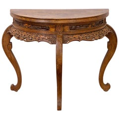Mid-18th Century Chinese Half Moon Table in Northern Elm