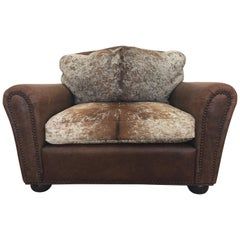 Comfy and Large Leather and Cowhide Club Chair