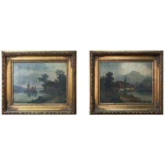 Pair of 19th Century Framed Oil Paintings on Canvas by A. Korr