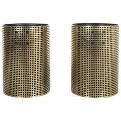 Pair of Refurbished Josef Hoffmann Style Trash Cans, Austria, 1950