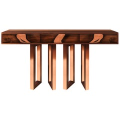 Contemporary Oxara Console Table with Walnut Veneer in Brass, Copper Inlay