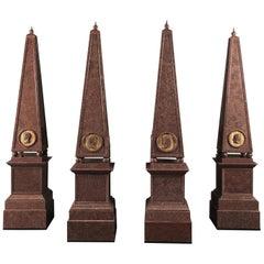 Set of Four Large Porphyry Obelisks, circa 1880