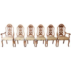 Romweber Ornate French Carved Dining Chairs, Set of Six