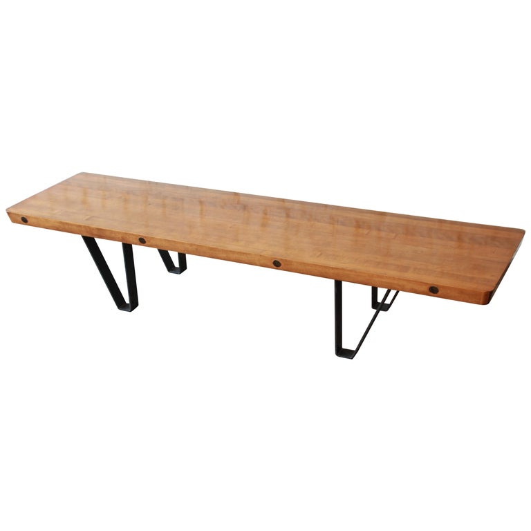 Mid-Century Modern Long Bench or Coffee Table with Bowling Lane Top