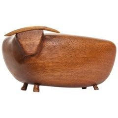 Vintage MCM Wood Toro/Bull Signed JW