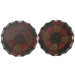 Rare Pair of Polychrome Painted Russian Tole Trays
