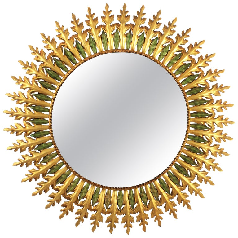 Large Spanish 1960s Hollywood Regency Gold Gilt Iron and Green Sunburst Mirror For Sale