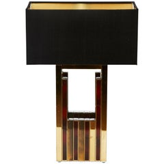 1970s Willy Rizzo Brass Table Lamp