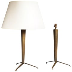 Pair of Bronze Tripod Lamps in the Style of Jean Michel Frank