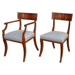 Fourteen English Regency Klismos Dining Chairs