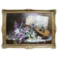 Desire Alfred Magne Still Life of Flowers and Mandolin