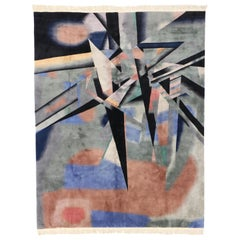 Vintage Chinese Rug with Abstract Expressionism and Cubism Style