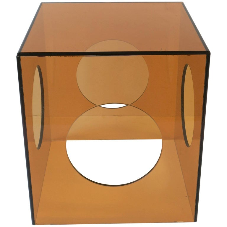 Amber Acrylic Cube Side or End Table