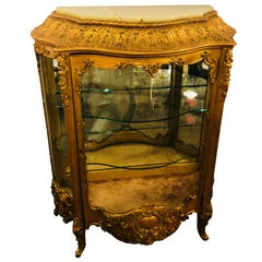 19th Century Giltwood Louis XV Carved Lighted Curio Vitrine Showcase Cabinet
