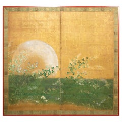 Japaese Two Panel Screen, Plains of Musashino with Full Moon Rising