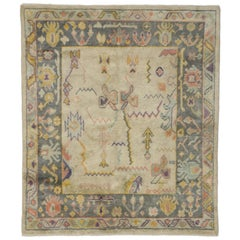 Colorful Pastel Turkish Oushak Rug with Modern Tribal Style, Square Area Rug