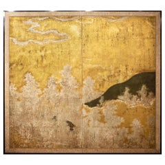 Japanese Two Panel Screen, Farmhouse in a Forest of Cherry Blossoms