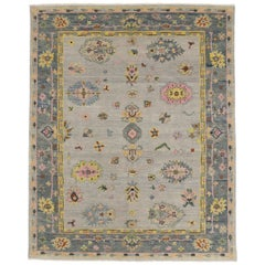 Colorful Pastel Oushak Area Rug with Modern Style
