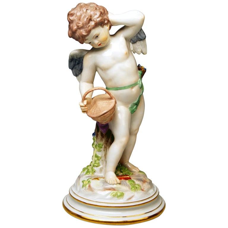 Meissen Tall Cupid Figurine with Basket M Series 113 Heinrich Schwabe Made 1910 For Sale