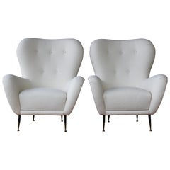Pair of Bouclé Armchairs, Italy, 1950s