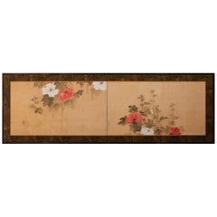 Japanese Two Panel Screen, Hollyhocks