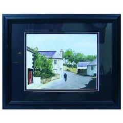 Irish Watercolor of Village Scene by M MacLoughlin
