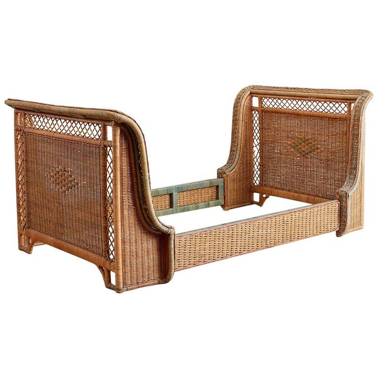 French Grange Art Deco Wicker Sleigh Bed