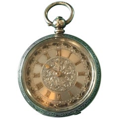 Antique Sterling Silver 935 Grade Swiss, 19th Century Small Pocket Watch