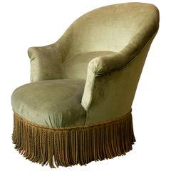 French Napoleon III Style Chair in Green Velvet