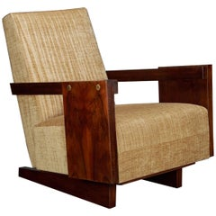 Pair of Hungarian Art Deco Armchairs in Walnut