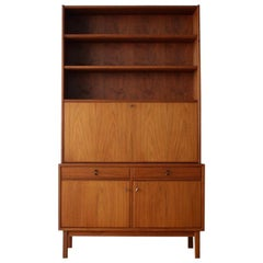 Danish Midcentury Teak Drop Down Shelving Unit/Bar Cabinet