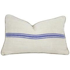 Antique Nubby 19th Century European Blue Stripe Grain Sack Pillows